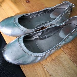 Cole Haan Size 10B Silver ballet flats